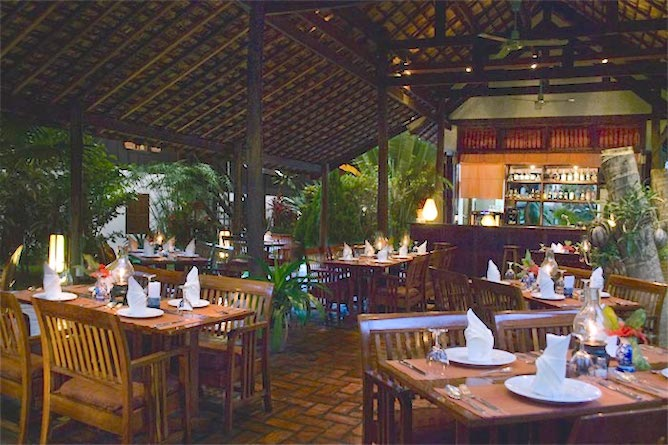Hotel restaurant serving French and Lao cuisine