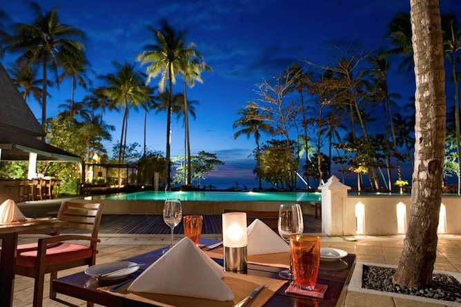 Relax and enjoy evening drinks by the pool