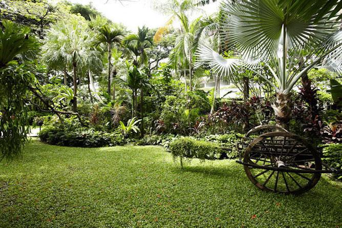 The extensive tropical gardens