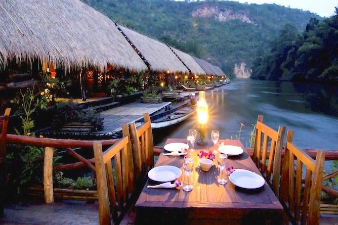 Al fresco dining on the River Kwai!
