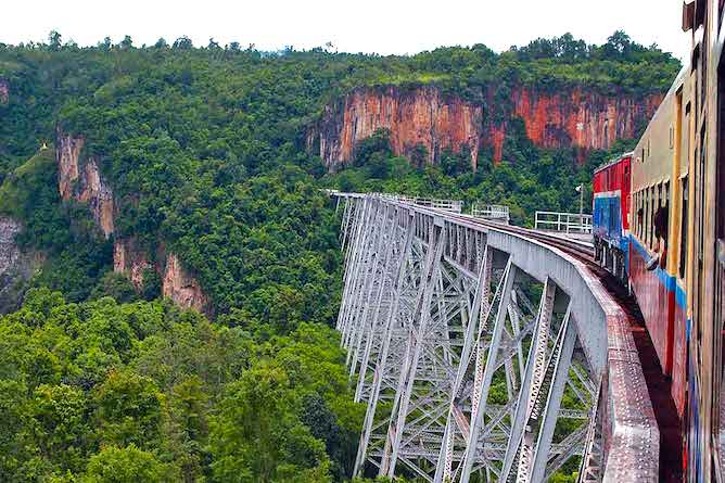Those with a head for heights can take the train over the Gokteik Viaduct en route to the Hsipaw Resort