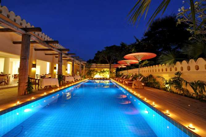 Swimming pool and poolside restaurant