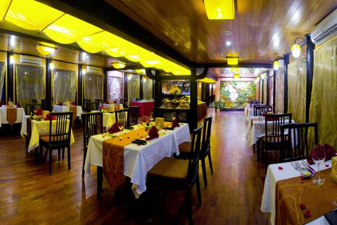 Dining room on the Indochina Sails Premium junk
